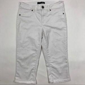 1822 Denim White Denim Crop Jeans
